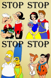 Popeye The Sailor Man and Olivie The Simpsons Homer Marge Snow White Flintstone Art Portrait Social Campaign Domestic Woman Women's Violence Abuse Satire Stop Sketch Cartoon Illustration Critic Humor Chic by aleXsandro P